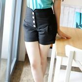 春夏新款正品韩版高腰收腹提臀排扣短裤/8604