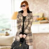 806 欧美设计英纶格子双排扣毛领大衣外套(配腰带,毛领可拆)