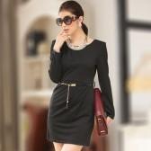 J709黑色 韩版收褶长袖圆领显瘦连衣裙