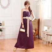 J9502紫色  2013新款 优雅压褶高贵收腰窈窕身姿拼色长版晚礼服连衣裙