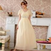 J9200香槟色  2013新款高档进口奥钻石荷叶袖显瘦美姿长版晚礼服连衣裙