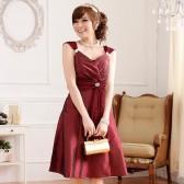 9506酒红色  晚宴华丽美胸瘦腰V领钻石扣吊带礼服连衣裙(钻石可拆,配裹胸)