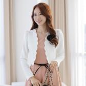 9230白色 韩版修身显瘦新款时尚甜美花边短款泡泡袖花瓣小外套披肩(送可拆胸花)