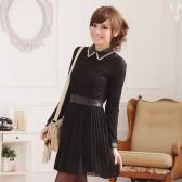 9352黑色 气质修身撞色拼接压褶翻领长袖雪纺连衣裙打底裙
