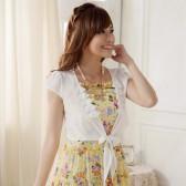 9710白色 韩版开衫随性绑带空调衫遮肩防晒衫大码雪纺上衣