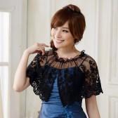 9614黑色  超仙婚纱礼服晚宴披肩蕾丝百搭遮肩甜美公主衫欧根纱小披肩
