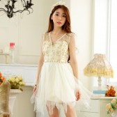 9928香槟色  高端珠链V领时尚不规则网纱晚礼服大码连衣裙