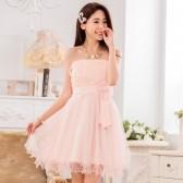 9733粉色  甜美蕾丝网纱姐妹裙表演小礼服蝴蝶结大码晚礼服(送隐形带)