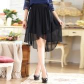 9641黑色 时尚不规则松紧腰雪纺中裙百搭大码单裙