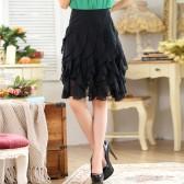 9640黑色  韩版荷叶雪纺百搭中裙显瘦大码单裙