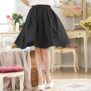 9739黑色  时尚芭比百搭中裙松紧腰压褶大码单裙