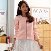 9936粉色 韩版百搭短外套小香风开衫长袖高档大码女装披肩小外套
