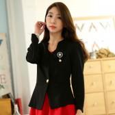 9740黑色  韩版职业小西装长袖修身百搭短外套单扣大码小外套(送可拆胸花)