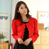 9937红色  韩版小香风长袖百搭披肩短外套百搭礼服大码小外套