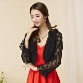 9745黑色  韩版百搭防晒四季长袖薄款开衫镂空蕾丝大码小外套披肩