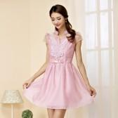9659粉紫色   OL韩版欧根纱雪纺短袖V领高贵订珠A字中裙大码连衣裙