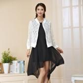 94849白上衣黑裙  显瘦燕尾长礼服+百搭薄款镂空披肩外套 两件套大码套装(可自由搭配颜色尺寸,默认外套配大一个码)
