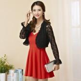 94558黑上衣红裙 性感露背吊带裙+百搭防晒蕾丝开衫 两件套大码套装(可自由搭配颜色尺寸)