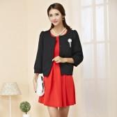 94356黑上衣红裙 百搭气质修身裙+中长袖对扣小香风外套 两件套大码套装(可自由搭配颜色尺寸)