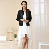 94849黑上衣白裙  显瘦燕尾长礼服+百搭薄款镂空披肩外套 两件套大码套装(可自由搭配颜色尺寸,默认外套配大一个码)