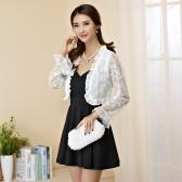 94558白上衣黑裙 性感露背吊带裙+百搭防晒蕾丝开衫 两件套大码套装(可自由搭配颜色尺寸)