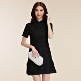 9857黑色 日常宴会时尚中国风礼服短袖蕾丝立领大码女旗袍唐装连衣裙
