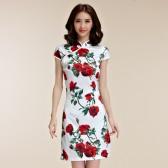 98592玫瑰花  中式宫廷玫瑰花唐装修身仿真丝大尺码中裙旗袍连衣裙