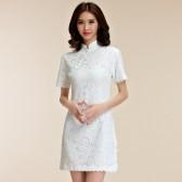 9857白色 日常宴会时尚中国风礼服短袖蕾丝立领大码女旗袍唐装连衣裙
