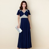 9865深蓝色  高雅手工绣珠名贵修身荷叶袖长款晚礼服宴会吸睛雪纺大码连衣裙