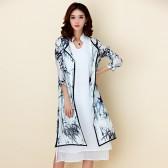 9756黑色 民族风文艺女装水墨印花旗袍七分袖两件套休闲宽松大码连衣裙