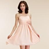 9755粉色  闺蜜聚会晚宴裙甜美姐妹裙雪纺吊带晚礼服小礼服(送透明肩带)