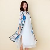 9757蓝色 民族风文艺女装花团锦簇印花旗袍七分袖两件套休闲宽松大码连衣裙