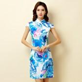 9866  短款旗袍修身显瘦大码性感蓝色蒲扇花时尚连衣裙