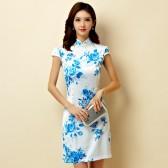 9868蓝色  日常旗袍裙时尚改良复古仿丝绸短款大码礼服裙