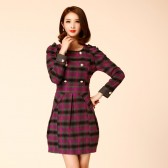 8704 特卖款一口价  秋冬时尚通勤格子双排扣收腰显瘦连衣裙