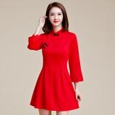 9956款红色  复古优雅晚会唐装大码旗袍显瘦短款七分袖小礼服