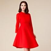 9758红色 聚会派对收腰显瘦中长款长袖晚礼服姐妹裙大码连衣裙