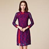9871红色  改良旗袍中长款修身包扣复古长袖蕾丝大码唐装礼服连衣裙