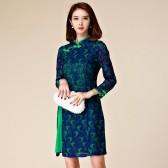 9871绿色  改良旗袍中长款修身包扣复古长袖蕾丝大码唐装礼服连衣裙
