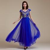 9666蓝色  时尚高端定制大牌晚宴裙亮钻绣花网纱背调节带表演裙大码年会晚礼服
