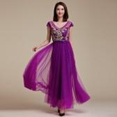9666紫色  时尚高端定制大牌晚宴裙亮钻绣花网纱背调节带表演裙大码年会晚礼服