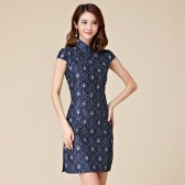 9883 神秘优雅宝蓝色复古唐装蕾丝短袖大码文艺范中款旗袍连衣裙