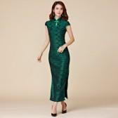 9877 复古高档包扣修身显瘦短袖大尺码旗袍长款唐装连衣裙