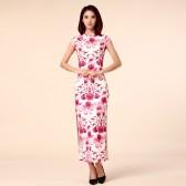 9961玫红色  改良中国风文艺复古气质长款旗袍高端唐装大码礼服连衣裙