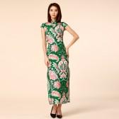 9963绿色  名媛复古中国风改良长旗袍包扣显瘦大码绿色礼服连衣裙
