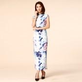 9960蓝色  复古中国风民族风情长款旗袍立领唐装短袖大码晚宴礼服连衣裙