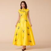 9885黄色 中国风刺绣旗袍宴会端秀高雅礼服长款大码连衣裙
