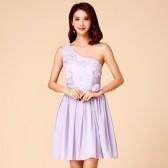 9761粉色  气质优雅伴娘服时尚单肩雪纺大码姐妹裙宴会晚礼服连衣裙