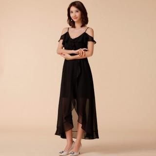 9964黑色  时尚度假不规则沙滩裙露肩吊带大码雪纺燕尾礼服长款连衣裙