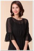 9890黑色  时尚不规则圆领雪纺两件套连衣裙荷叶袖松紧腰宽松大码连衣裙(配吊带裙)